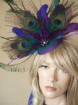 Purple Teal Blue Green Peacock Feathers Fascinator Headpiece Hat for Mother of the Bride, Day at the Races